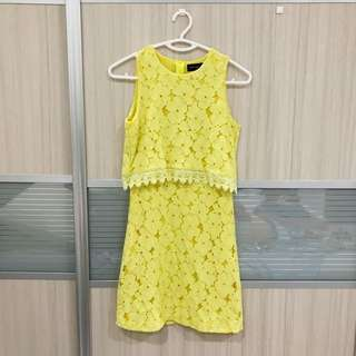 Yellow crochet dress