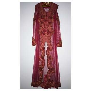 1 set Kebaya long payet merah
