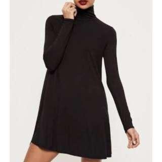 Missguided long sleeve turtle neck black dress
