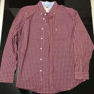 Levi's slim fit shirt 紅格恤衫 XL