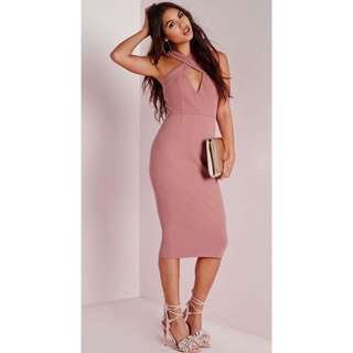 Misguided pink midi dress