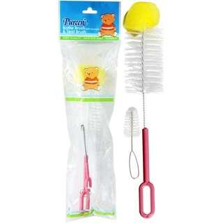 Pureen Baby Bottle Brush & Teat Brush with Sponge