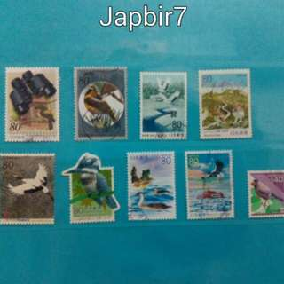 2 lots of Japanese birds on stamps