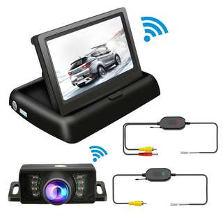 Backup Camera And Monitor Wireless Car Rear View System Night Vision IR Reversing Rear View Camera +Foldable 4.3'' Color HD LCD Monitor Parking