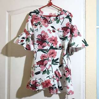Korean style floral prints petite v neck fake ribbon overlay overlap wrap flutter sleeves dress CNY Chinese New Year