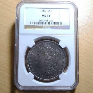 Dark toned 1885 Mint State MS 63 Morgan Silver Dollar