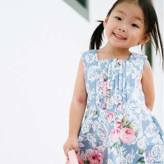 Baby Blue Rose Print Skater Dress by The Little Ones (2 - 6Y)
