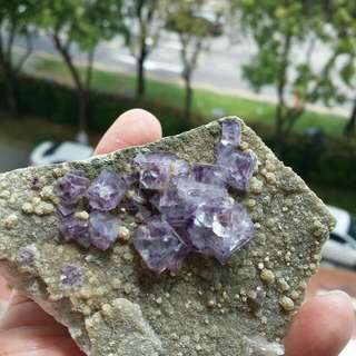 Rich Purple Cubic Fluorite Crystals On Matrix