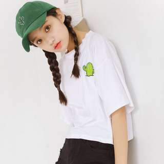 Embroidered Cactus Crop Top INSTOCK