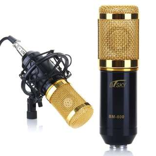 BTSKY BM800 Condenser Sound Studio Recording Microphone Mic, Come with Mic Shock Mount (Black)