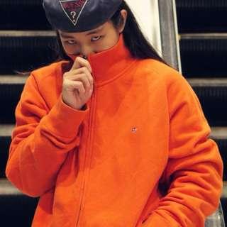 🚚 古著 Polo橘色 立領外套