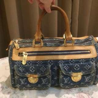 Auth Pre-Owned Louis Vuitton LV Monogram Denim Neo Speedy Handbag