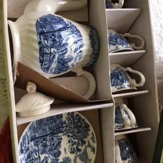 Blue and white tea set-Akura stone ware toki