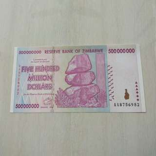 Zimbabwe 2008 500 Million Dollars Unc Crisp Note