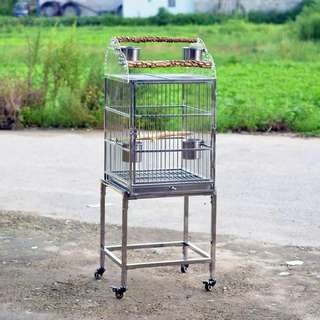 100% stainless steel bird cage on roller