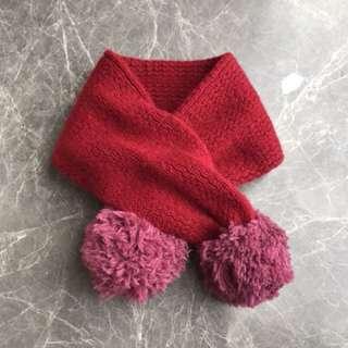 Sbilla wool red purple Pom Pom scarf