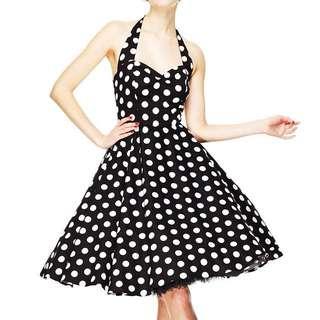 WOMAN VINTAGE ROCKABILLY DRESS 1950s 60s POLKA DOT HALTER STYLE SWING DRESS
