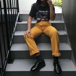 Yellow high waisted pants