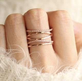 Stacked Rose Gold Ring (adjustable free size) 玫瑰金戒指(可調大小)