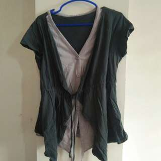 Dark green and gray blouse