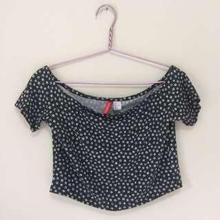 H&M Floral Black Crop Top