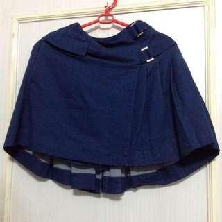 日本Wego深藍牛仔布防走光橡筋短褲