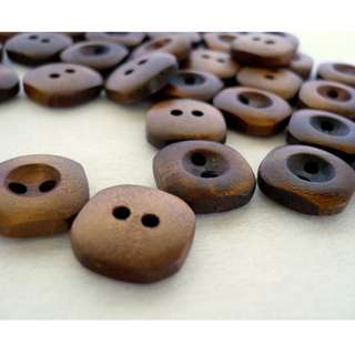 WB10099 - 14mm mini wood buttons, wooden buttons (10 pieces)  #craft