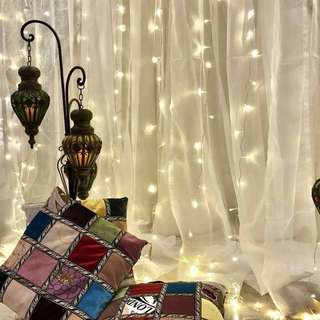 Rental of Backdrop Stand / Fairy Curtain Lights / Morrocan Chandeliers / Tutu Table Skirting/ Dessert Table