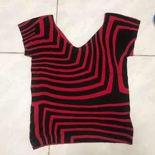 黑紅幾何圖形V領短袖針織上衣