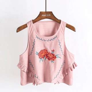 [RS] Dust Pink Embroidery Suede Top