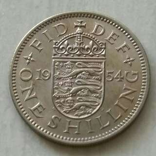 Britain 1954 Shilling Unc Coin With Luster.