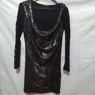 Black Sequin and Lace Cocktail Dress