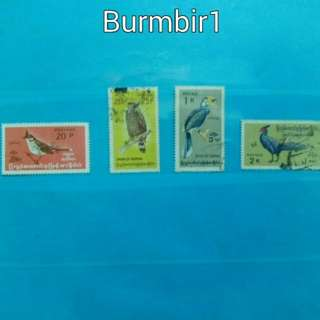 2 lots of Burma birds on stamps