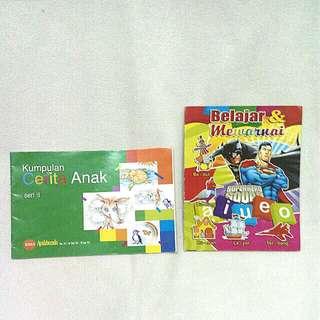 PAKET: buku cerita & mewarnai 6ribu/2pcs