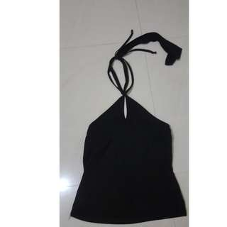 Black halter neck top