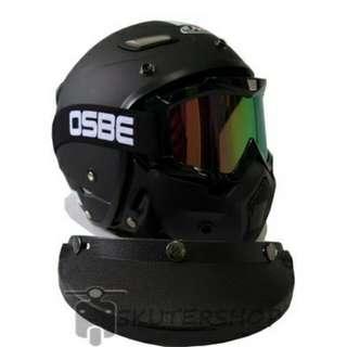 Helm JPN Momo Vintage + OBSE Goggle mask Retro Jap style Motocross Visor Clear Hitam