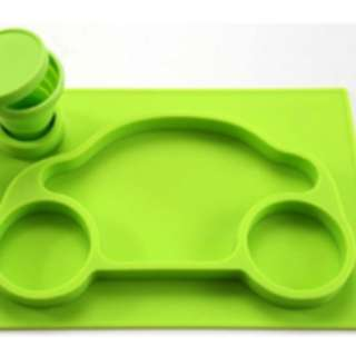 One-Piece Silicone Placemat Tray + Plate Car + Collapsible Cup + Cup Holder (Green) for Baby and Toddler