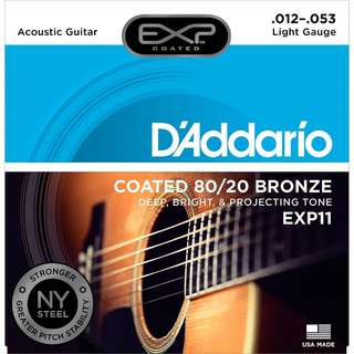 D'Addario EXP11 EXP 11 w/NY Steel 80/20 Bronze Acoustic COATED Guitar Strings, Light, 12-53, 12 Gauge (pre-order)