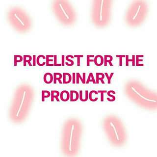 PRICELIST FOR THE ORDINARY PRODUCTS