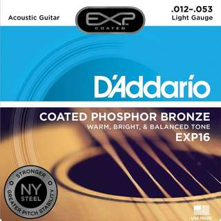 D'Addario EXP16 EXP 16 w/NY Steel Phosphor Bronze Acoustic COATED Guitar Strings, Light, 12-53, 12 Gauge (pre-order)