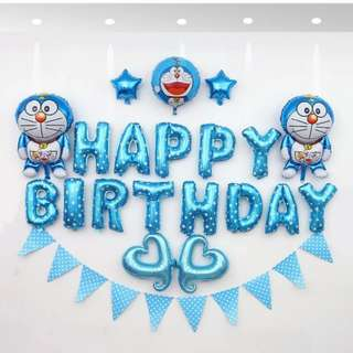 🦄 [Instock] BN Happy Birthday Party Decor Balloon Sets - Doraemon