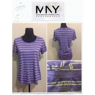 Marc New York Performance Super Wash Violet Striped Tee
