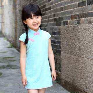 Clearance: CS016 Girls Traditional Cheongsam Qiapao Dress Turquoise Sz 90