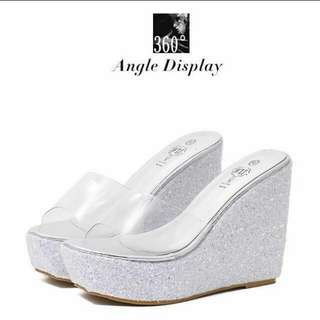 Silver Platform Heels Shoes