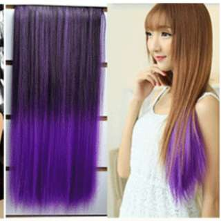 Ombre gradient two tone dip dye  Black-purple straight hair extension *Brand new in package *pm if int