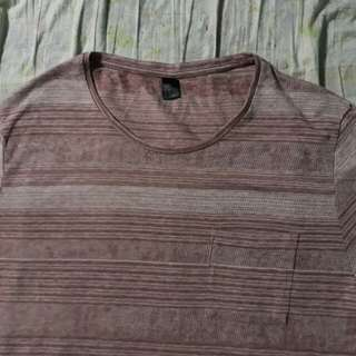 OVERRUNS STRIPED TEE ( brown )