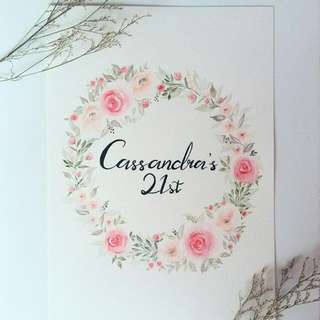 Birthday Customised Watercolour Floral Wreaths/ Floral Border Design Card Artwork