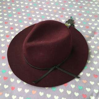 [Factorie] Wine Red Felt Hat