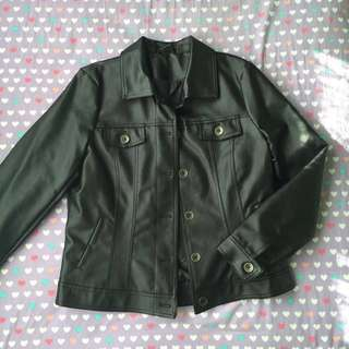 Collared Faux Leather/Pleather Jacket