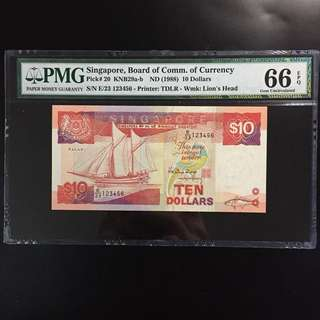Ladder Serial 123456 Singapore $10 Ship Note (PMG 66EPQ)